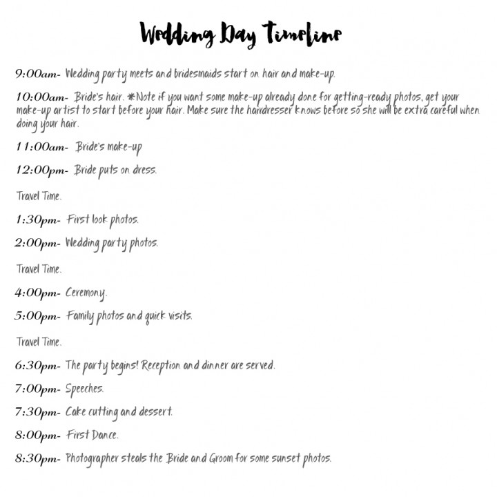 Wedding Day Timeline Cheat Sheet